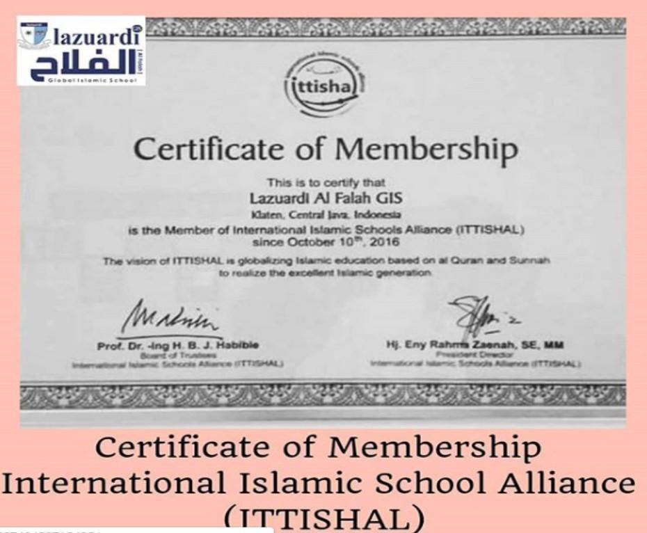 Certificate of Membership International Islamic School Alliance